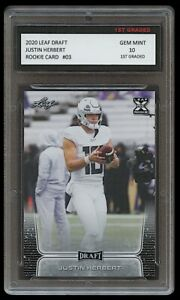 JUSTIN HERBERT 2020 LEAF DRAFT 1ST GRADED 10 ROOKIE CARD RC LOS ANGELES CHARGERS