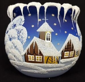 """Christmas Candle Holder Blue 12-1/2"""" Circumference x 4"""" Made in Czech Republic"""