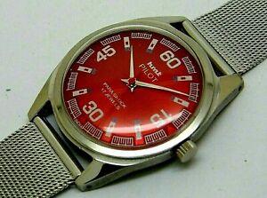 hmt pilot hand winding men steel red dial para shock vintage india watch run