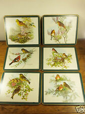 Vintage Retro Set of 6 placemats British Birds Clover Leaf Cork Backed