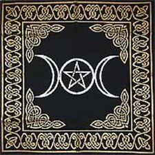Triple Moon Pentagram Black Gold Altar Cloth 24 x 24 Wiccan Pagan Altar RAT2483A