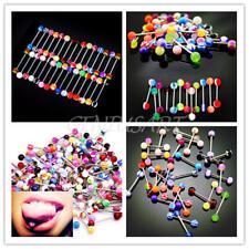 30 Piercing Lingua Barretta 316L Acciaio Chirurgico Decor Body Art Vari Colori