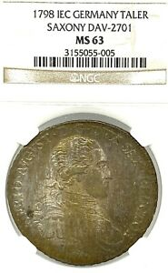 German States Saxony 1798 IEC Taler Coin NGC MS63 F.STG/stg Thaler Deutschland