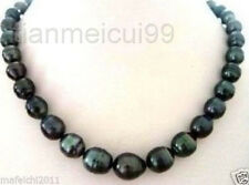 Genuine Natural 18''11-12mm baroque Natural tahitian black pearl necklace