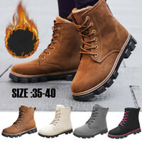 Women's Winter Warm Casual Faux Suede Fur Lace-up Ankle Boots Snow Boots Shoes