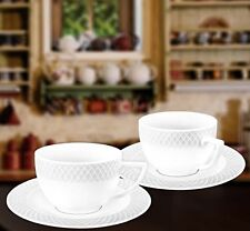 Wilmax 6oz. Julia Collection White Porcelain Cappuccino Cups & Saucers, Set of 6