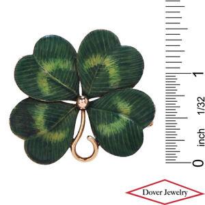 Antique Enamel 14K Gold Four Leaf Large Clover Pin 11.9 Grams NR