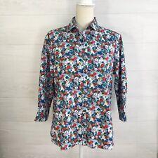 Lands' End - Teal & orange floral No-Iron Supima button down shirt, sz 14