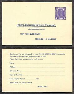 Canada 1950s Postal Card. TORONTO Star Precision Devices     (inv:2189)