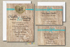 100 Personalized Rustic Burlap Heart Wedding Invitation Suite with Envelopes