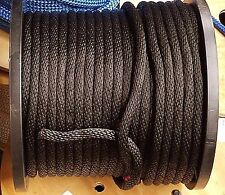 """ANCHOR ROPE DOCK LINE 1/2"""" X 50' BRAIDED 100% NYLON BLACK MADE IN USA"""