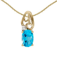"14k Yellow Gold Oval Blue Topaz And Diamond Pendant with 18"" Chain"