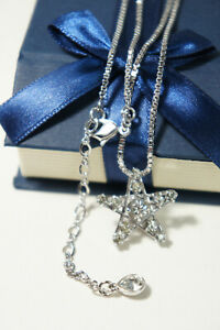 Authentic Swarovski SWAN Silver Crystal STAR Pendant Box Chain Necklace 16-18 In