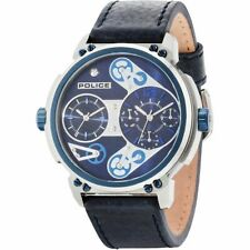 Police Steampunk 14693JSTBL-03 Men's Dual Time Blue Leather Strap Watch