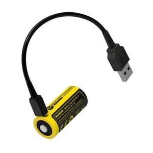 Pile Rechargeable via USB RCR123A 16340 NiteCore NL1665R 3,6V 650mAh (Cable non