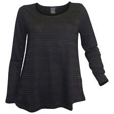 ICHI Shirt M 38 schwarz dezente Glitzerstreifen Langarmshirt A-Linie neu