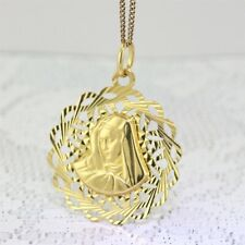 """Yellow Gold """"MOTHER MARY or MADONNA PENDANT"""" Guaranteed Genuine 18k Gold"""