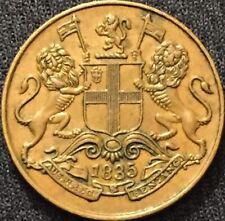 British East India Co 1835 Quarter 1/4 Anna Coin High Grade-Scarce Variety