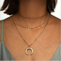 Multilayer Moon Horn Pendant Necklace Clavicle Fashion Chain Gold Women Jewelry