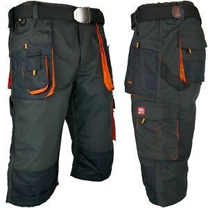 Arbeitshose 3/4 Hose Piratenhose Bundhose Grau Orange Shorts Gr. 46 - 60