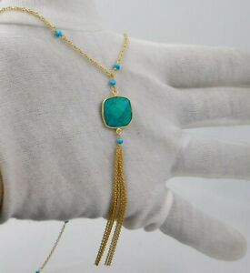 """Turquoise Beads Lariat Long Necklace 30"""" Gold Plated 925 Sterling Silver KN2504"""