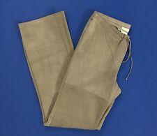 Max mara pantalone vera pelle scamosciata donna usato w27 tg 40 42 beige T926