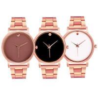 Men Women Luxury Crystal Stainless Steel Band Analog Quartz Wrist Watches