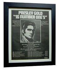 ELVIS PRESLEY+GOLD NUMBER ONE'S+POSTER+AD+FRAMED+ORIGINAL 1977+FAST GLOBAL SHIP