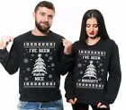 Ugly Christmas Sweater Naughty Nice Christmas Funny Matching Couple Sweatshirts