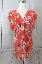 Chaus Blouse Top Size XL Sleeveless Floral Coral Sunset Knotted V-Neck NWT