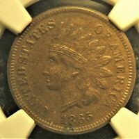1865 Fancy 5 Indian Head Cent. Graded AU 55 by NGC.