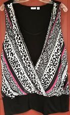 Cato Woman 26/28W Sleeveless Black W/  Print Wrap Overlay Plus Size Blouse Shirt