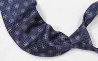 Ermenegildo Zegna Royal Blue Floral Check Silk Handmade Necktie Tie