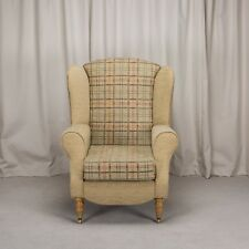 Duchess Armchair In Maida Vale Check U0026 Plain Gold Fabric Front Castor Feet Part 56