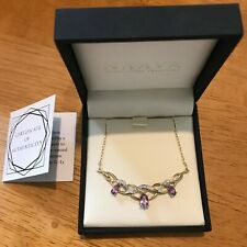 Naava 9 ct Gold Women's Diamond and Amethyst Necklace - new and never worn