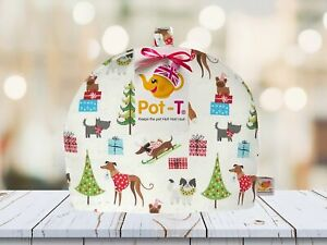 Pot-T INSULATED Tea Cosy Cozy in Christmas Prints Festive Dogs in Standard size
