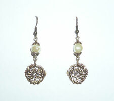 ART NOUVEAU STYLE LEAF AND CREAM PEARL EARRINGS DARK SILVER PLATED HOOK