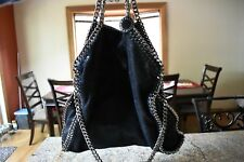 STELLA MCCARTNEY Black Falabella Shaggy Deer Foldover Tote