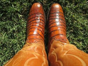 LUCCHESE SAN ANTONIO AMERICAN ALLIGATOR BELLY CUT RARE EXOTIC WESTERN BOOTS 8 D