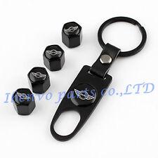 Key chain Black Metal Car Wheel Tyre Tire Stem Air Valve Cap For MINI Cooper