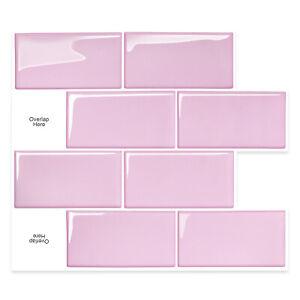 3D Tiles Stickers Peel and Stick DIY_Big Brick Pink_(30cm x 26cm x 10 sheets)