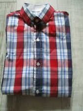GIANNI FERAUD Men's Shirt 15 COLLAR Checked Red WHITE Blue NEW No Tags