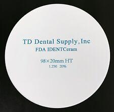 HT Zirconia Disc (98.5 x 20mm) (HIGH TRANSLUCENT)