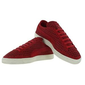 NEW Mens Puma Suede Courtside Perf Tennis Shoes High Risk Red Size 8.5 M