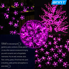 50 LED 7M Flower Solar Power String Fairy Light Waterproof Pink Xmas Party US