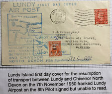 1950 Lundy Channel Island England Airmail First Day Cover To Devon Pilot Signed