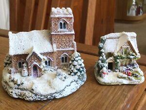 2 X Christmas Snowed Cottages, 1 X Leaonard Church & Lilliput Santa (af)