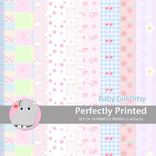 18 Patterned Paper Sq 140mm -Perfectly Printed Craft Paper - Baby Girl Ditsy