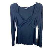 armani exchange Women Twist Front Long Sleeve Stretchy Black Top Size Medium