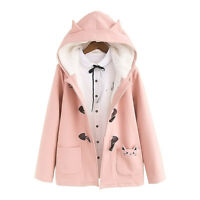 Kawaii Japanese Sweet Lolita Cat Ears Winter Warm Mori Girl Jacket Hoodie Coat